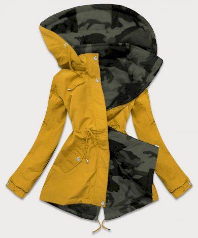 Oboustranná žluto-moro dámská bunda parka s kapucí (XW665X)