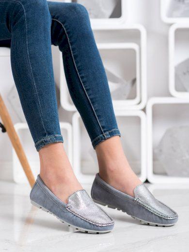 Módní dámské šedo-stříbrné  mokasíny bez podpatku