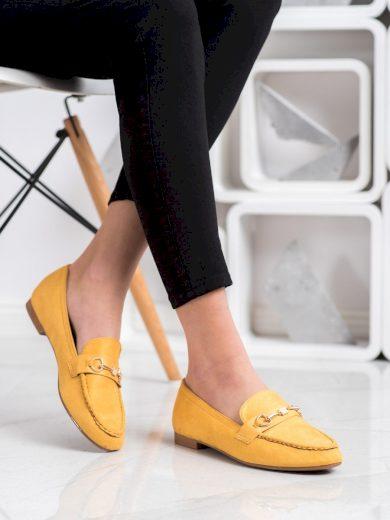 Exkluzívní zlaté  mokasíny dámské bez podpatku