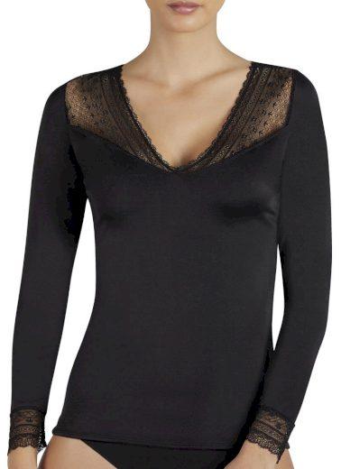 Dámské tričko s dlouhým rukávem 19149 černá - Ysabel Mora