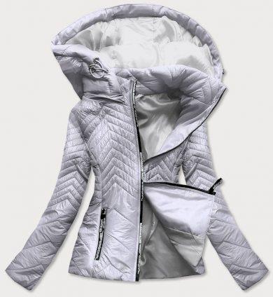 Krátká šedá prošívaná dámská bunda s kapucí (B9566)