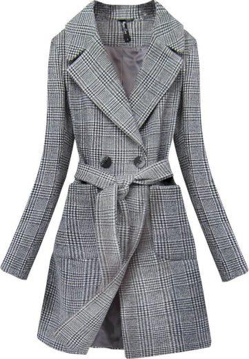 Klasický šedý károvaný kabát (X2701-2X)