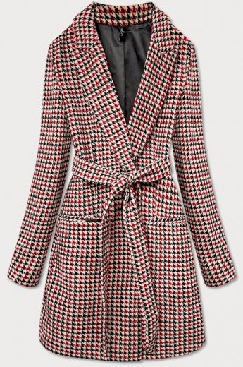 Klasický červený kabát s páskem (2720)