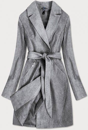 Šedý dámský kabát s drobným károvaným vzorem (2706)
