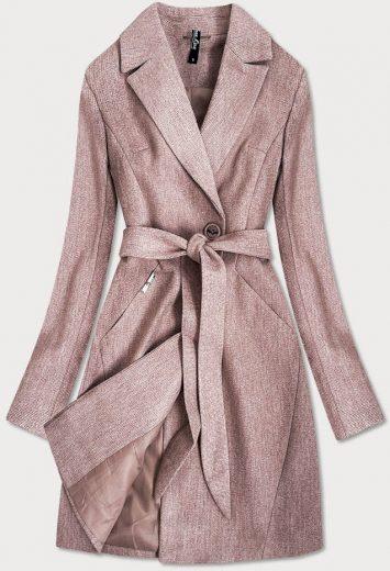 Dámský kabát ve starorůžové barvě s drobným károvaným vzorem (2706)