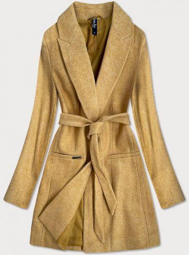 Klasický žlutý dámský kabát s přídavkem vlny (2715)