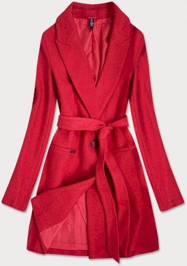 Klasický červený dámský kabát s přídavkem vlny (2715)