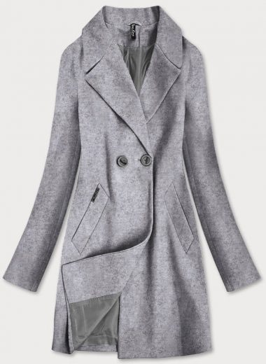 Šedý dvouřadový dámský kabát (2721)