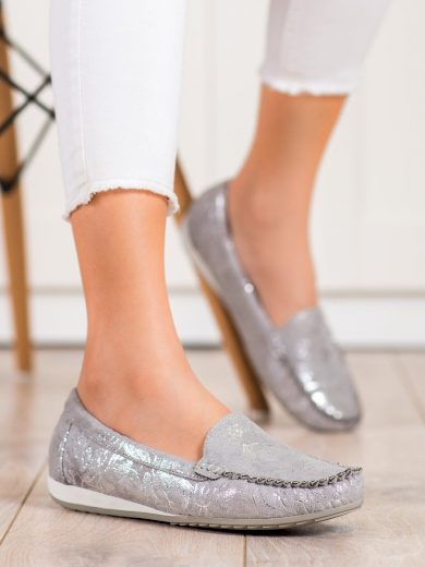 Módní šedo-stříbrné dámské  mokasíny bez podpatku