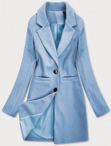 Světle modrý klasický dámský kabát (25533)