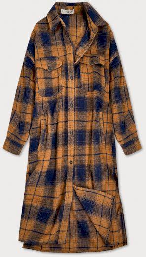 Hnědo-tmavě modrý dámský károvaný košilový kabát (8424)