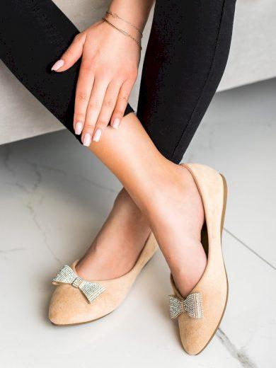 Komfortní  baleríny dámské hnědé bez podpatku