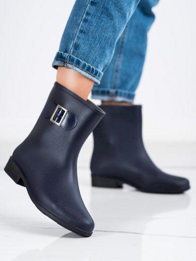 Krásné modré dámské  gumáky na plochém podpatku