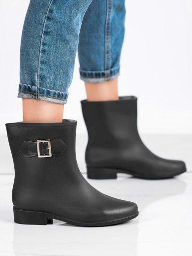 Výborné  gumáky dámské černé na plochém podpatku