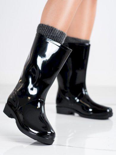 Trendy dámské  gumáky černé na plochém podpatku