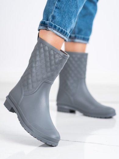 Módní šedo-stříbrné dámské  gumáky na plochém podpatku