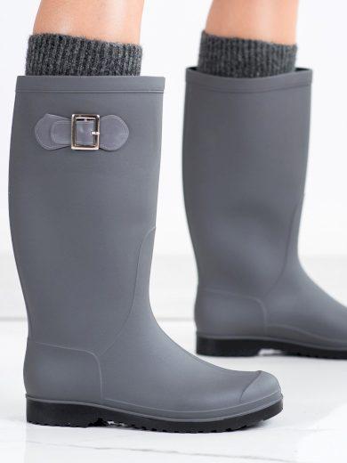 Exkluzívní dámské šedo-stříbrné  gumáky na plochém podpatku