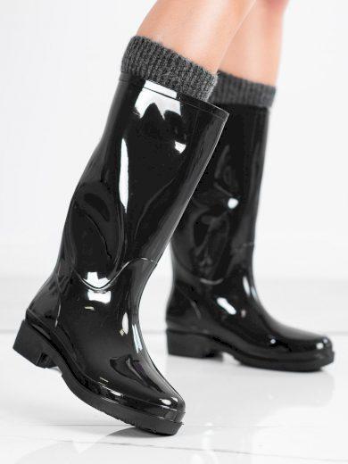 Komfortní  gumáky černé dámské na plochém podpatku