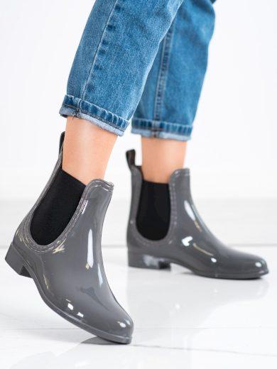 Exkluzívní  gumáky šedo-stříbrné dámské na plochém podpatku