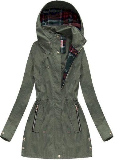 Bavlněná bunda parka v khaki barvě s kapucí (W158)