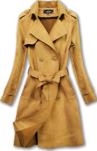 Dvouřadový semišový kabát v hořčicové barvě (6003)