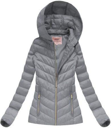 Šedá bunda s odepínací kapucí (W70BIG)