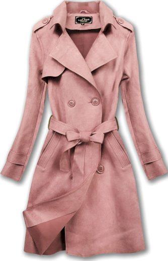 Růžový dámský dvouřadý kabát (6003)