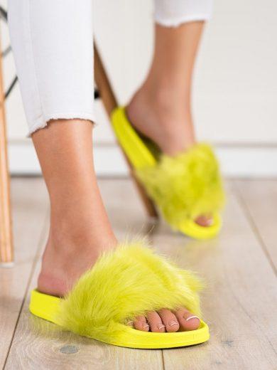 Stylové dámské zelené  nazouváky bez podpatku