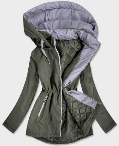 Dámská bunda v khaki barvě s kapucí (B2660-11032)