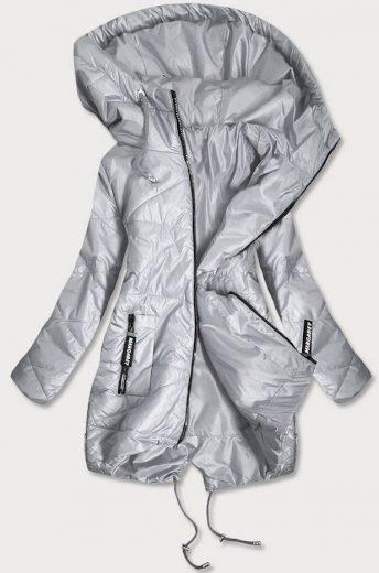 Šedá prošívaná dámská bunda s asymetrickou spodní částí (B2709)