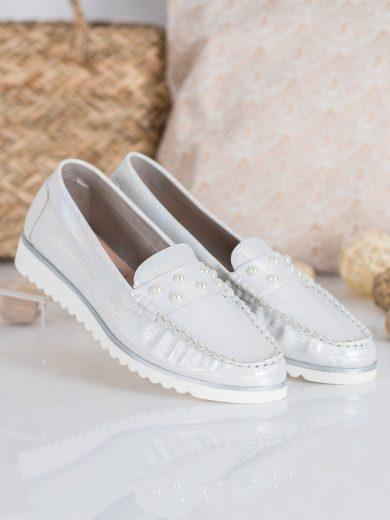 Trendy šedo-stříbrné  mokasíny dámské bez podpatku