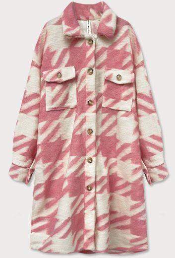 Růžový dámský košilový kabát s pepitovým vzorem (2099)