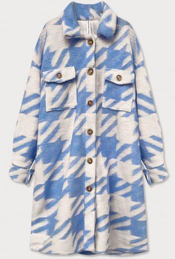 Světle modrý dámský košilový kabát s pepitovým vzorem (2099)