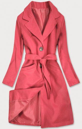 Klasický dámský kabát v korálové barvě s páskem (22800)