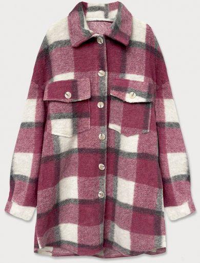 Tmavě růžový dámský károvaný košilový kabát (2431)