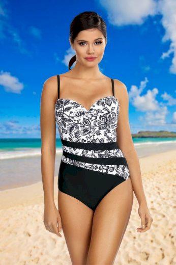 Jednodílné dámské plavky Gabriela bílo-černé