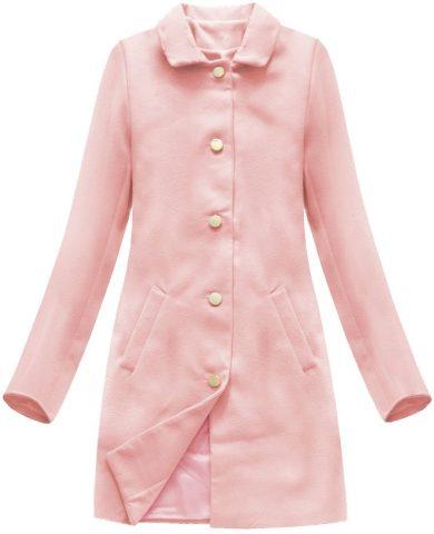 Jednoduchý růžový kabát s knoflíky (22241)