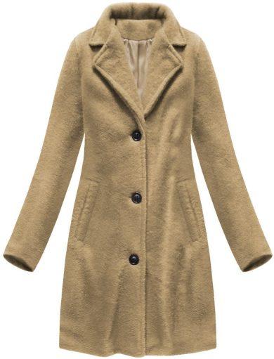 Jednoduchý béžový kabát s knoflíky (23086)