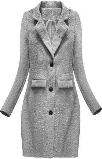 Šedý vlněný beránkový kabát (23108)