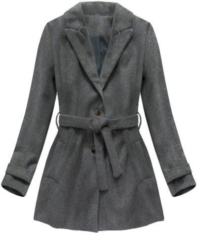 Tmavě šedý kabát s knoflíky a páskem (18808)