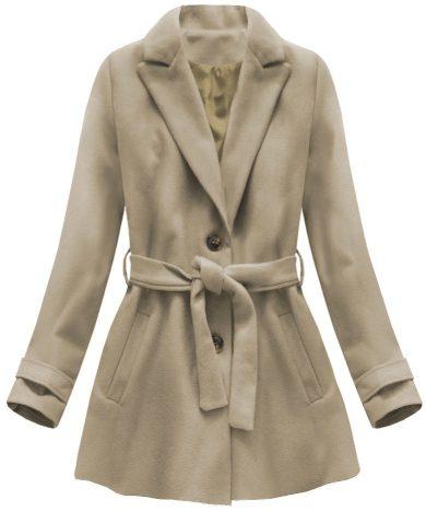 Béžový kabát s knoflíky a páskem (18808)