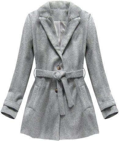Šedý kabát s knoflíky a páskem (18808)