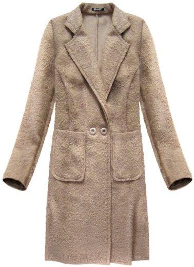 Béžový beránkový kabát s límcem (5187)
