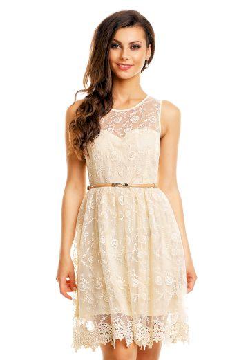 Společenské šaty MAYAADI krajkové s páskem středně dlouhé krémové - Béžová - MAYAADI