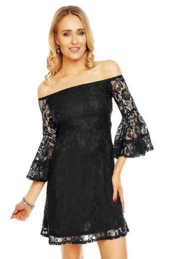 Krajkové dámské šaty s lodičkovým výstřihem a širokými rukávy černé - Černá - MAYAADI