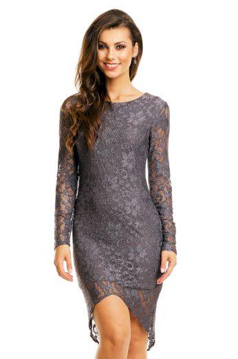 Společenské šaty MAYAADI  krajkové s asymetrickou sukní tmavě šedé - Šedá / XL - MAYAADI