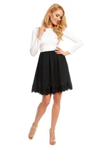 Dámské společenské šaty s dlouhým rukávem a skládanou sukní bílo-černé - Černo-bílá / XL - MAYAADI