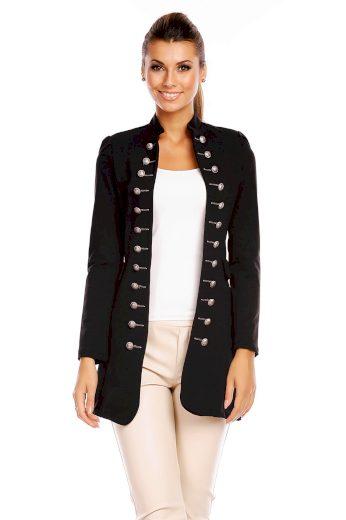 Dámský kabát blazer dlouhý černý - Černá / S - Made in ITALY