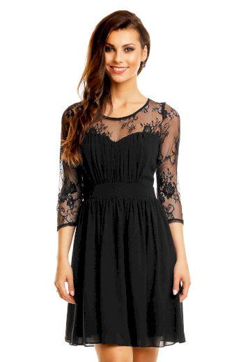 Společenské dámské šaty s krajkovými rukávy středně dlouhé černé - Černá / XL - MAYAADI