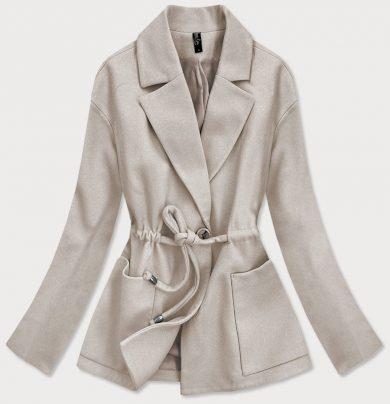 Volný béžový krátký dámský kabát (2727)